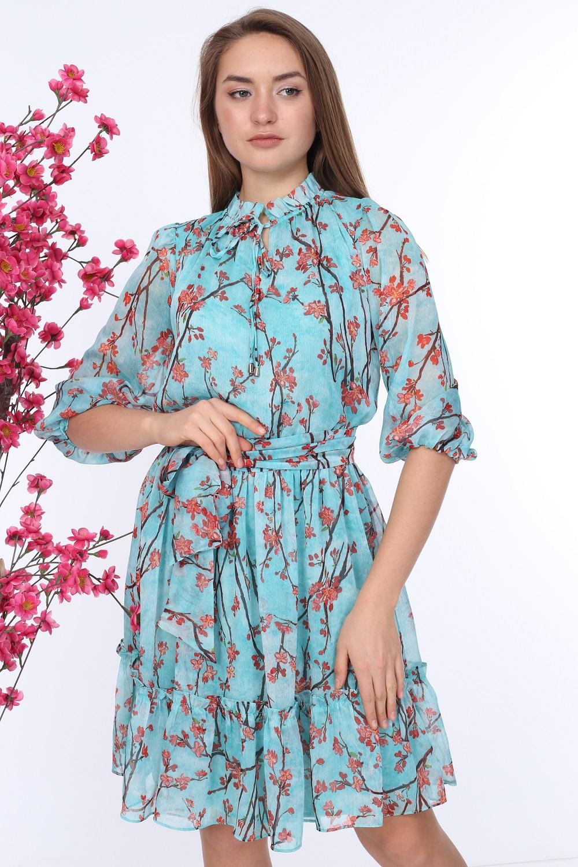 Mint Belted Patterned Dress