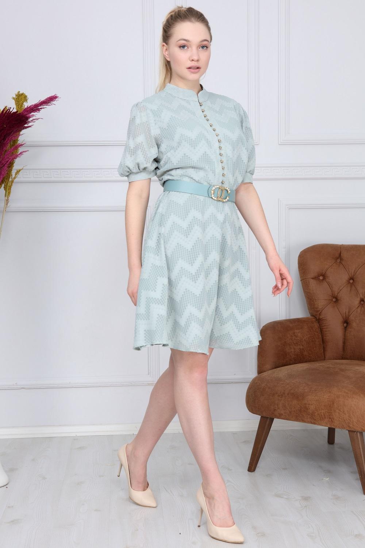 Mint Zigzag Pattern Dress