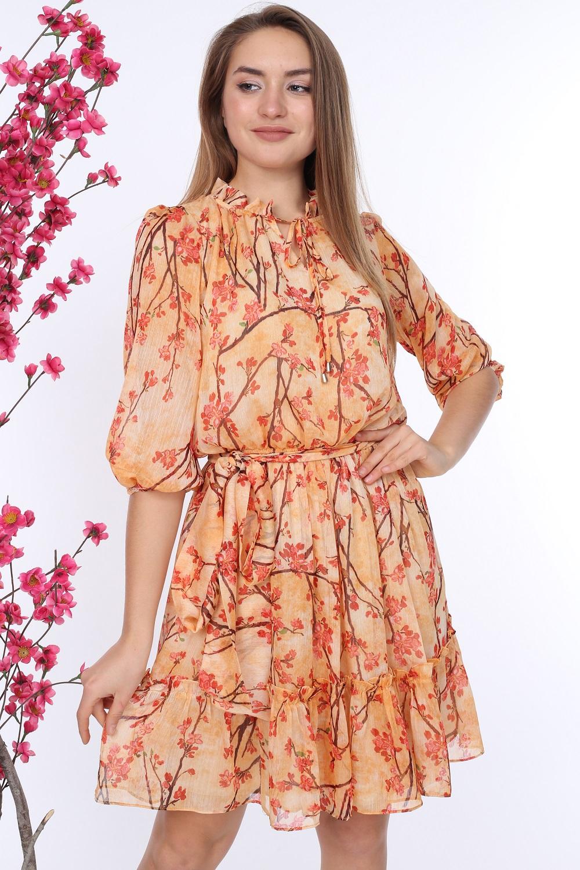 Orange Belted Patterned Dress