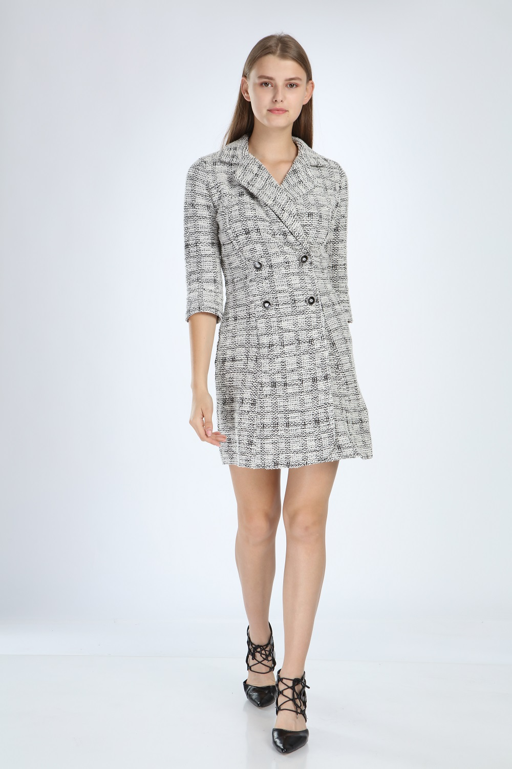 Knitted Fabric Collar White Dress