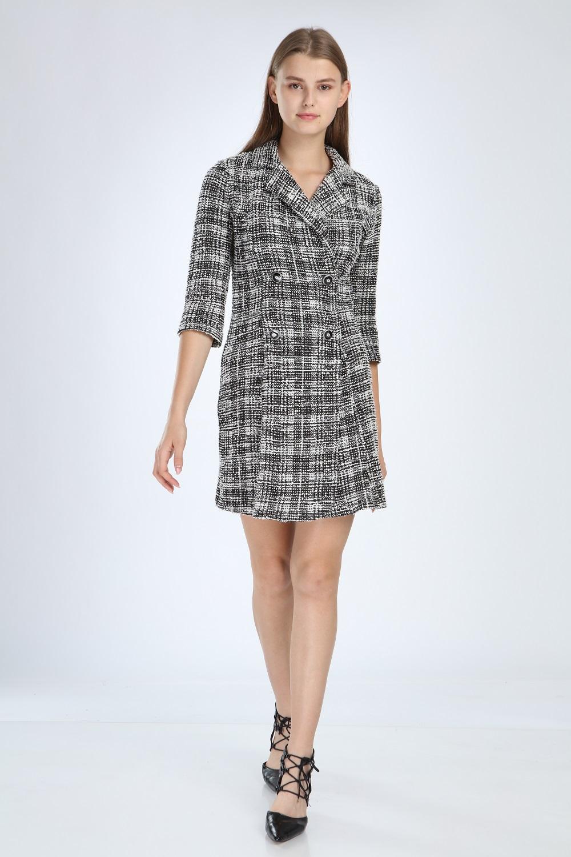 Knitted Fabric Collar Black Dress