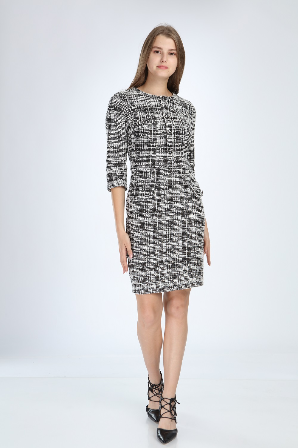 Knitted Fabric Black Dress