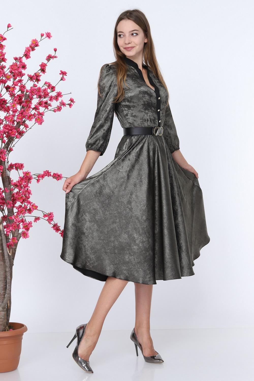 Shiny Fabric Buttoned Khaki Dress