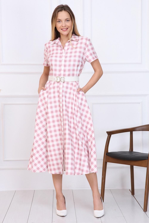 Pink Plaid Button Dress