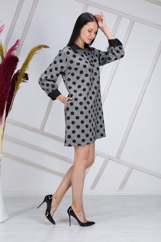 Polka Dot Collar Grey Dress