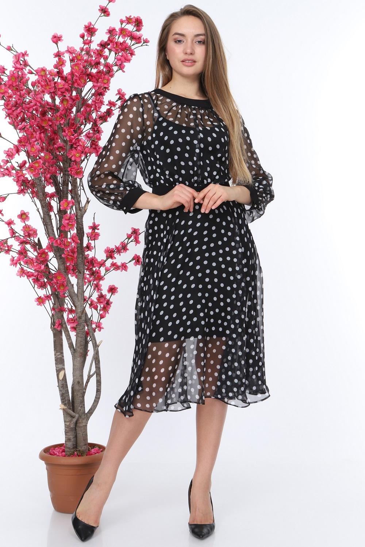 Polka Dot Black Color Tulle Dress