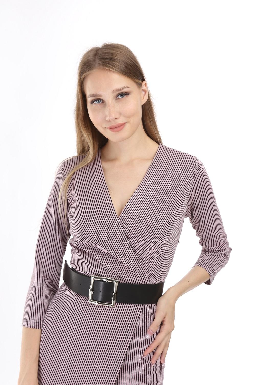 Pink Silvery Striped Knitwear Dress