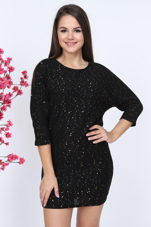 Silvery Black Knitwear Dress