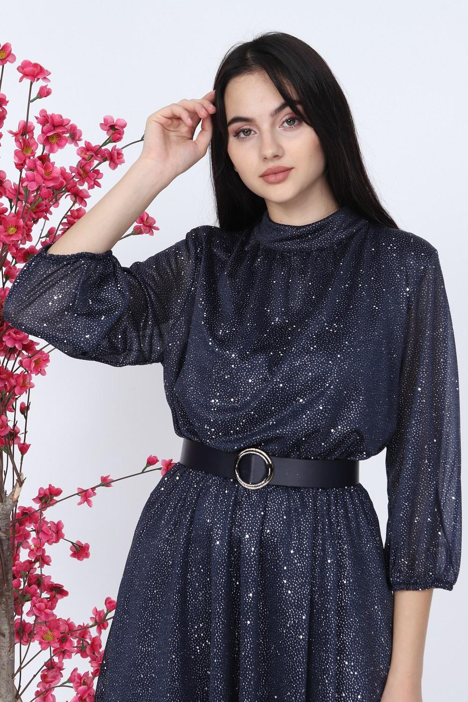 Silvery Navy Blue Dress
