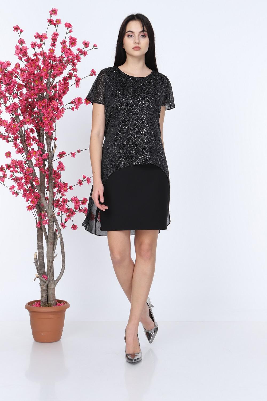 Black Silvery Short Sleeve Tulle Dress