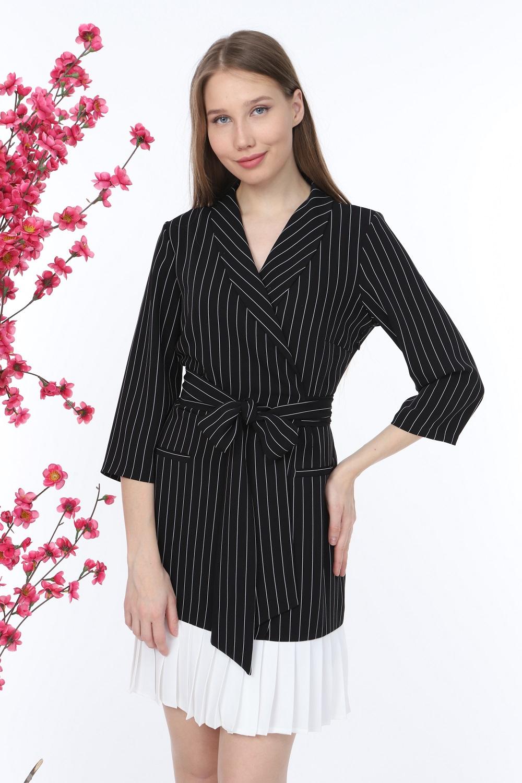 Pleated Striped Black Dress