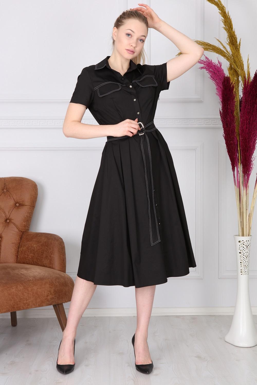 Black Basic Collar Dress