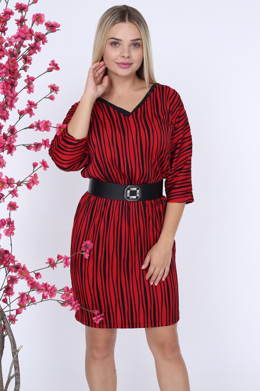 Black Striped V-Neck Red Dress