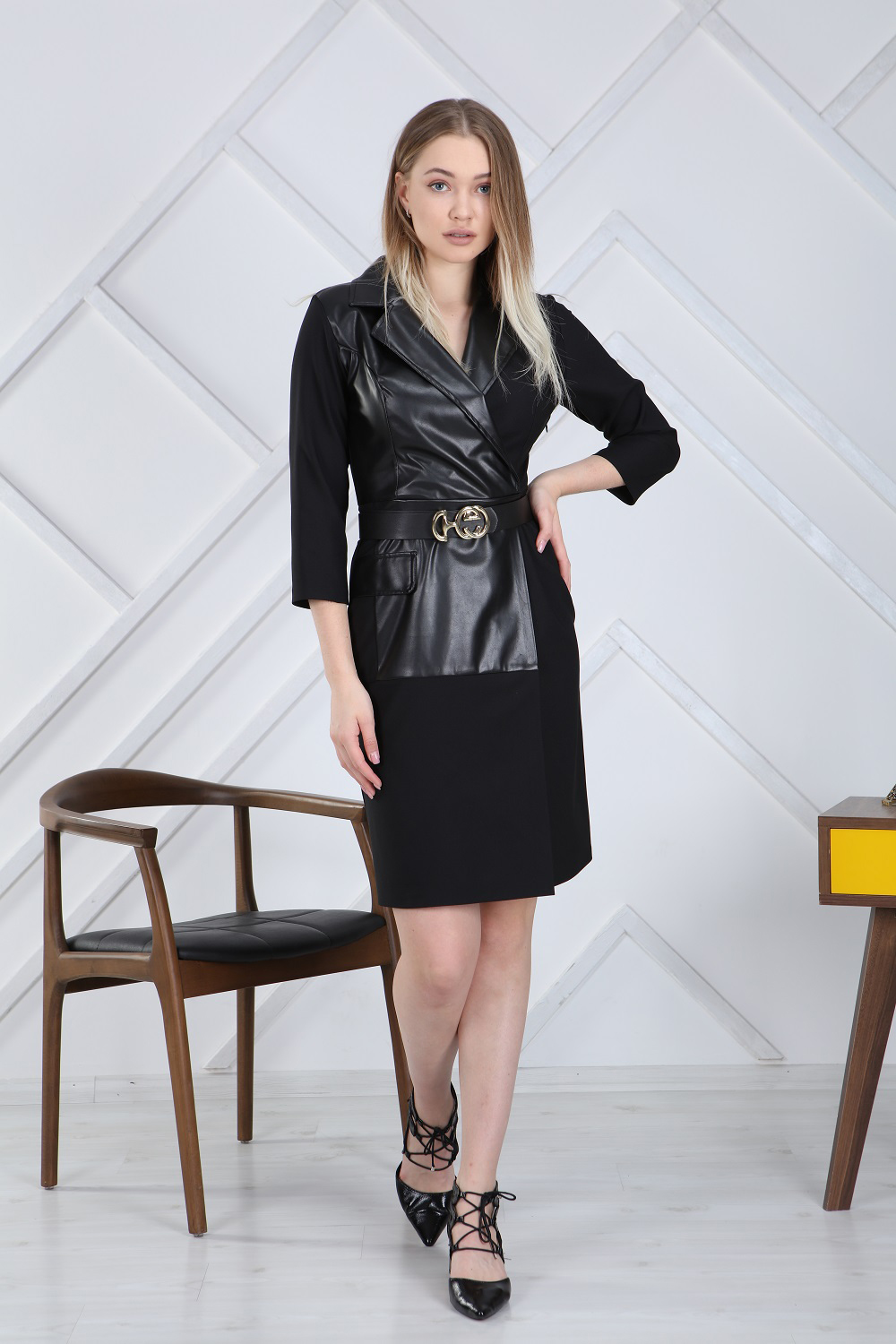 Leather Detailed Dress