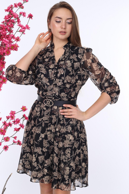 Black Patterned Chiffon Dress