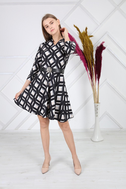 Black Check Patterned Dress