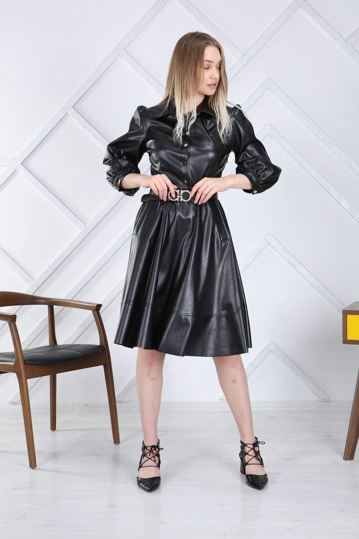 Black Belted Leather Dress