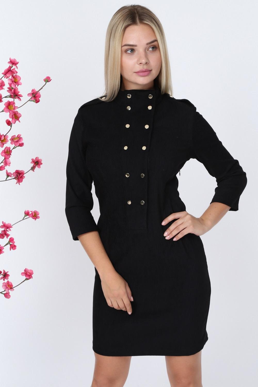 Black Button Velvet Dress