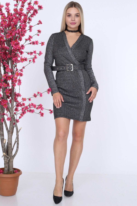 Belted Black Color Knitwear Dress
