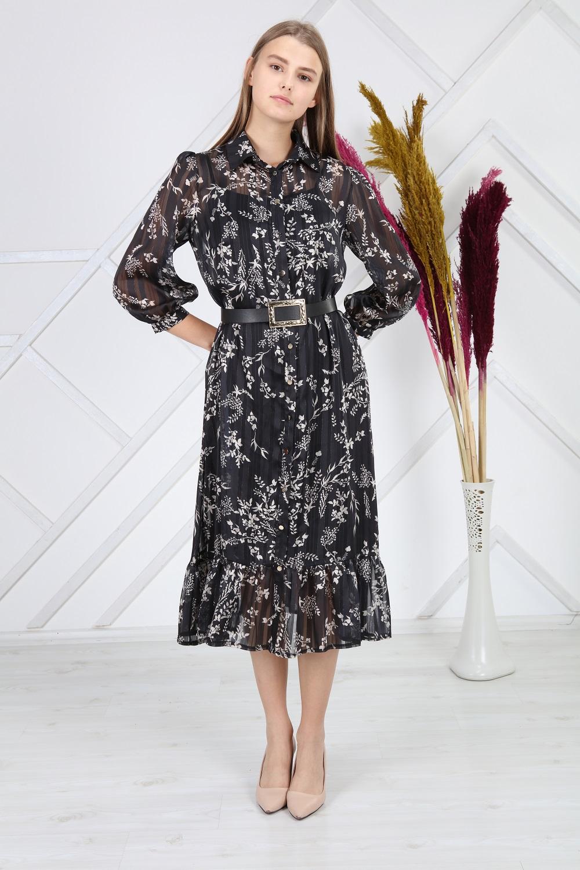 Black Patterned Silvery Dress