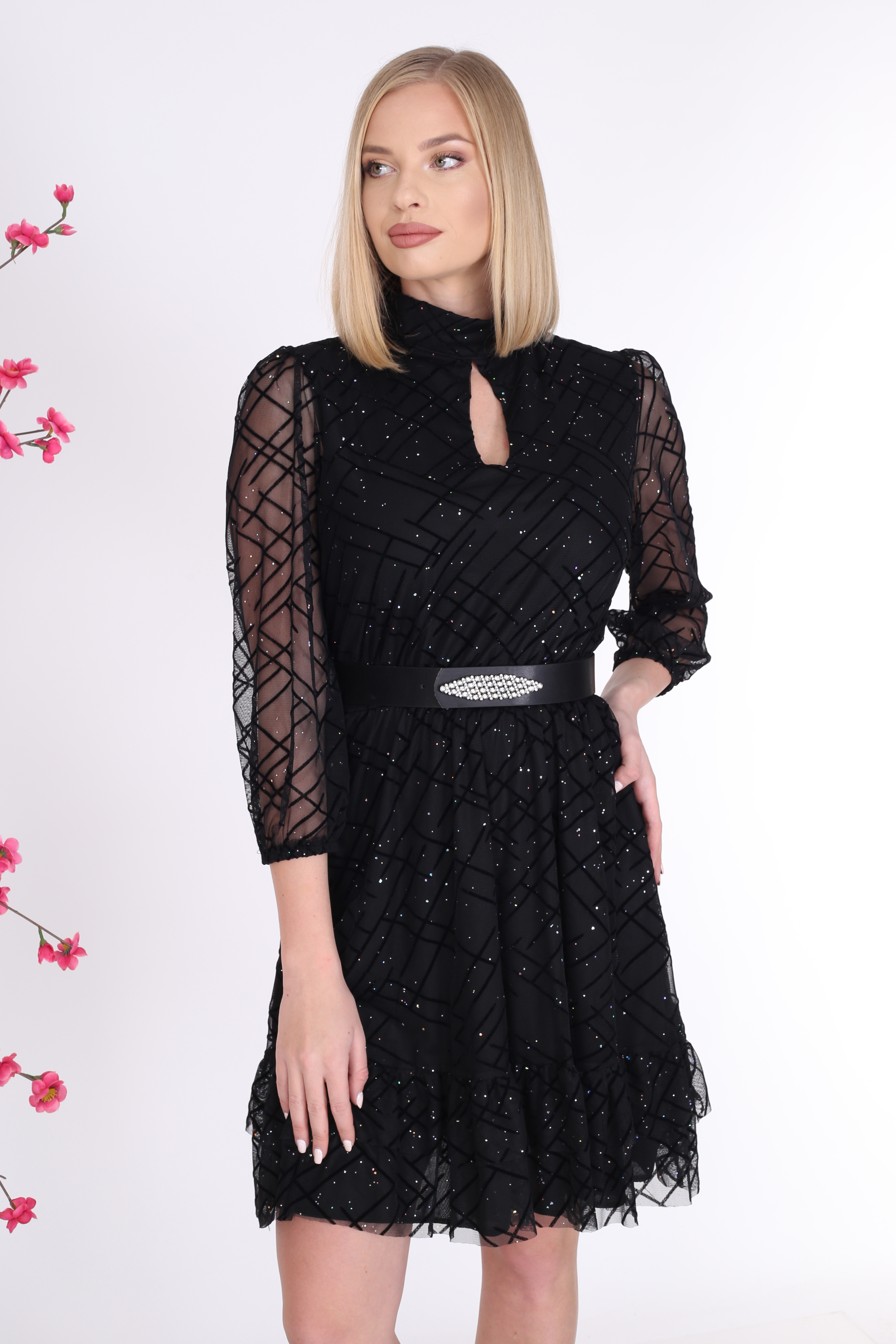 Silvery Black Color Tulle Dress