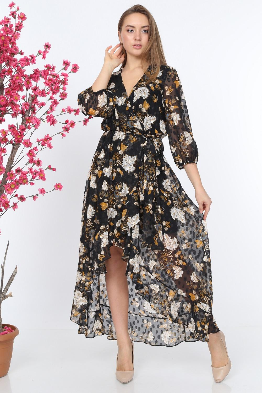 Black Ruffle Patterned Dress