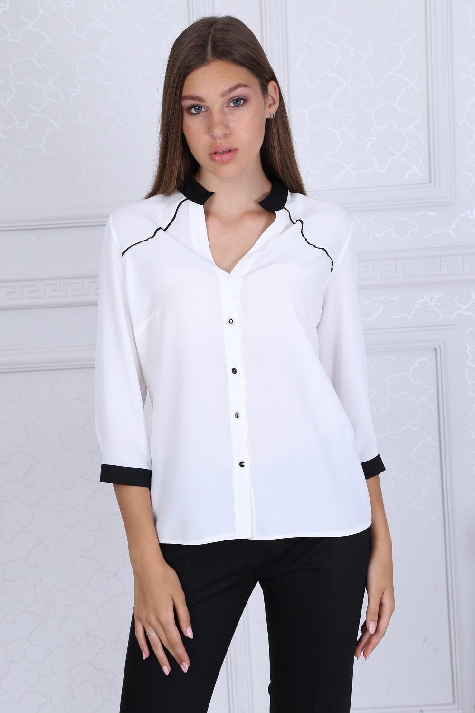 Black Collar White Blouse