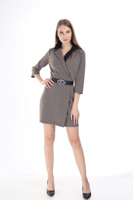 Black Collar Striped Beige Dress