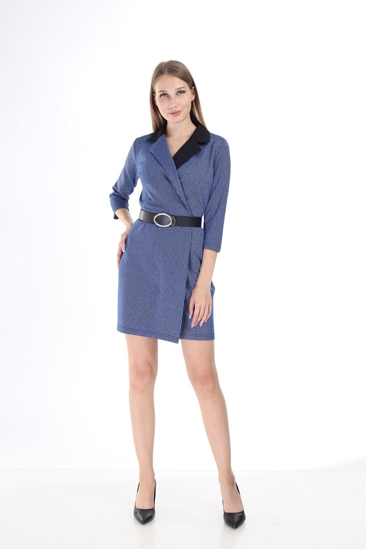 Black Collar Striped Blue Dress