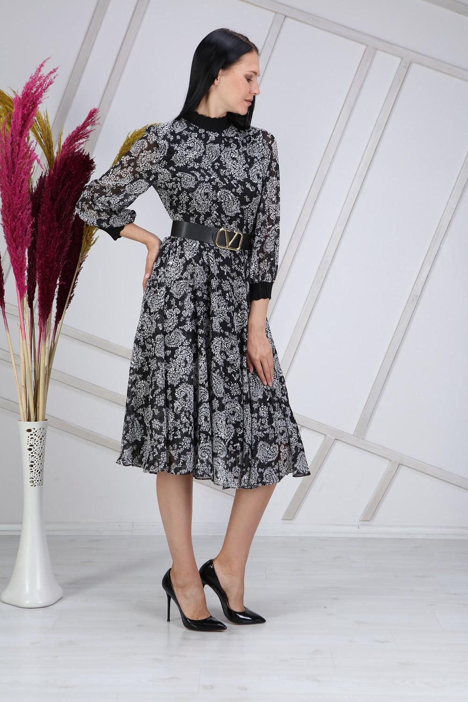Black Ribbed Patterned Dress