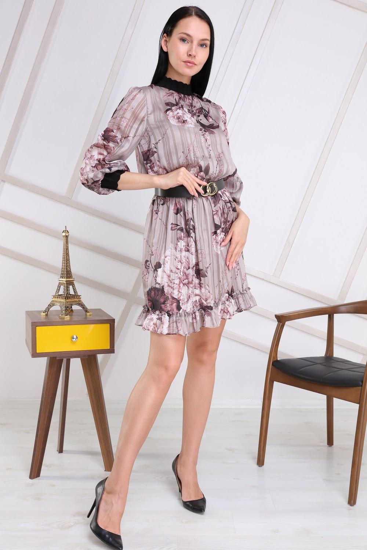 Mink Color Half Turtleneck Dress