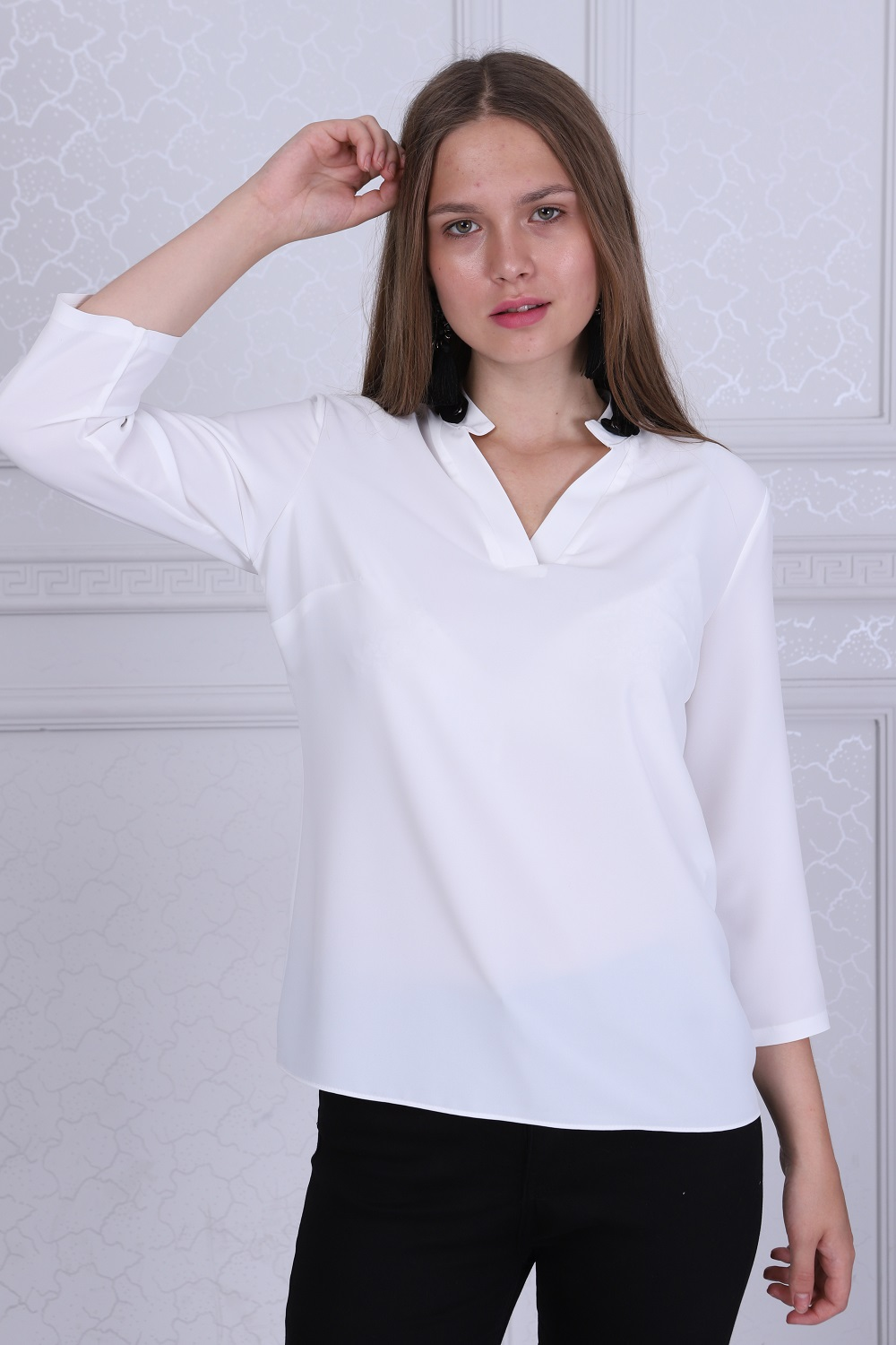 Collar Detailed White Color Blouse