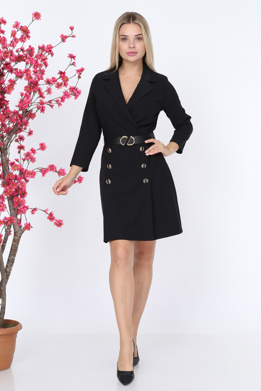 Collar Buttoned Black Color Dress