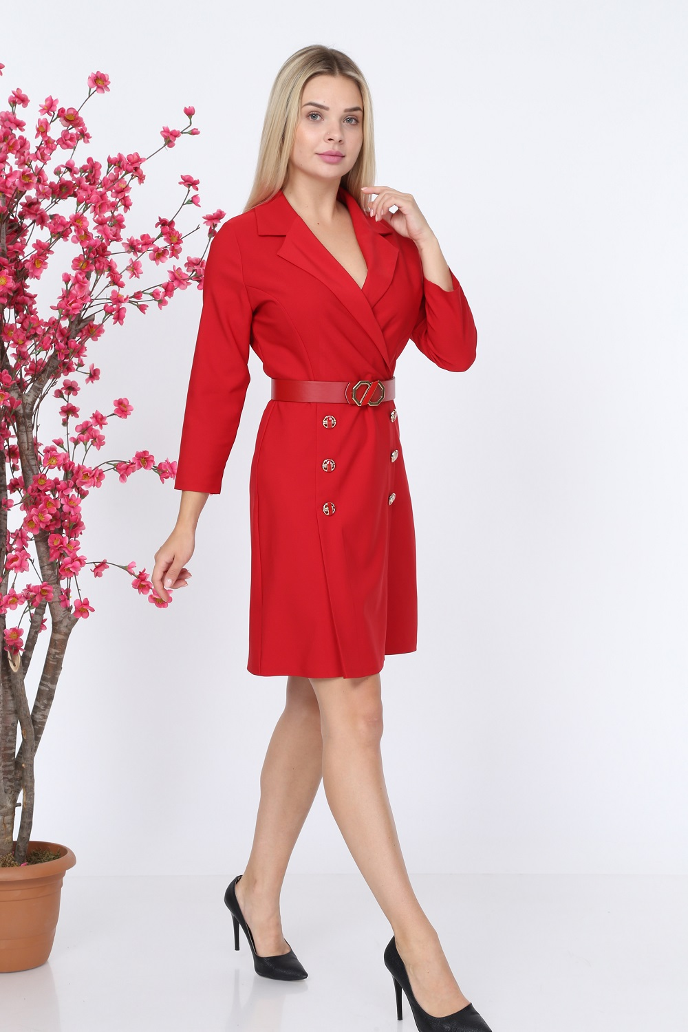 Collar Buttoned Red Color Dress