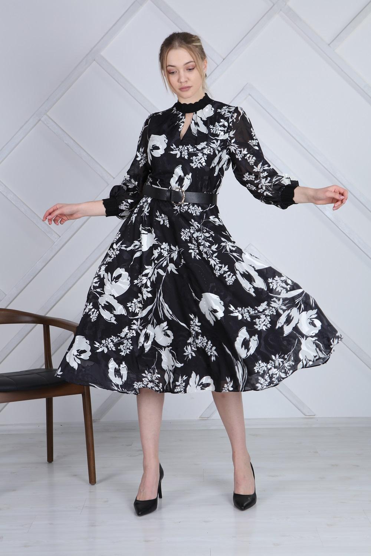 Patterned Half Turtleneck French Dress