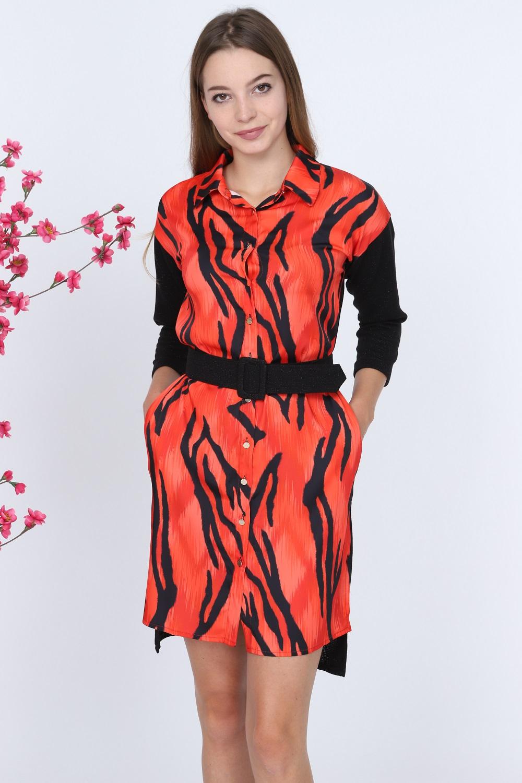Zebra Pattern Red Dress
