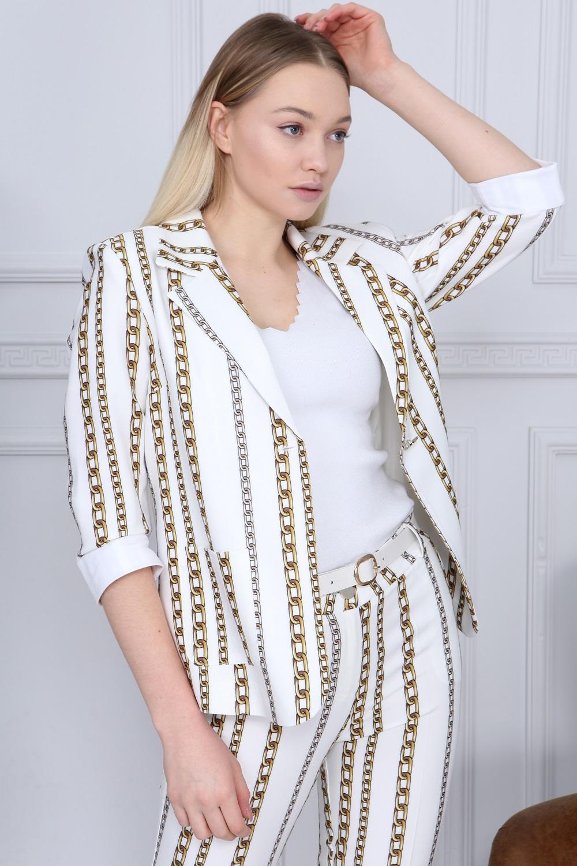 Gold Color Chain Pattern Suit