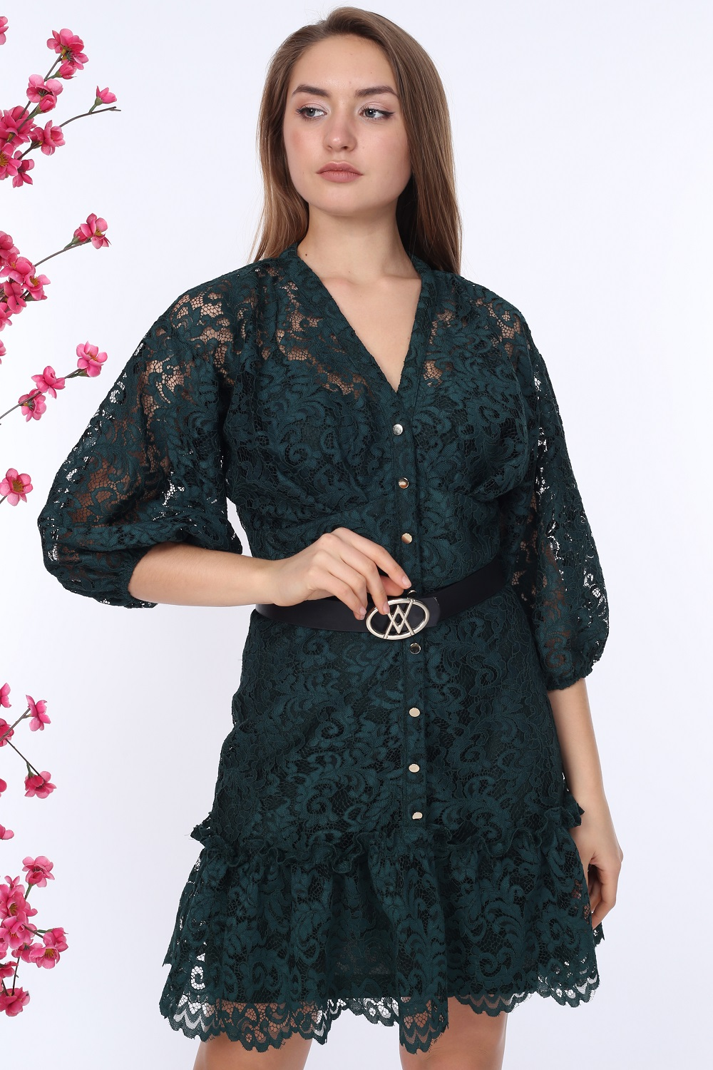 Emerald Buttoned Lace Dress